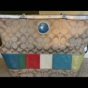 Coach multi-color Signature Stripe Tote